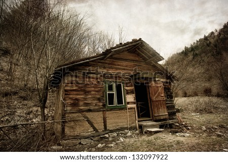Abandoned spooky house- vintage textured background - stock photo
