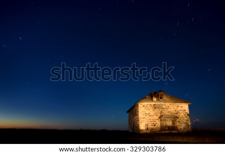 Abandoned Stone House at Night Shot Saskatchewan Canada - stock photo