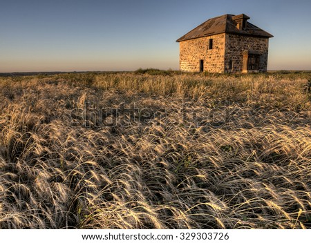 Abandoned Stone House at Sunset Saskatchewan Canada - stock photo
