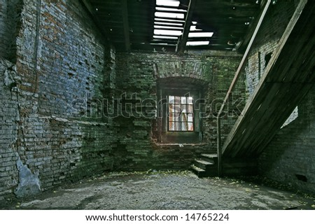 Abandoned store house hall with staircase. - stock photo