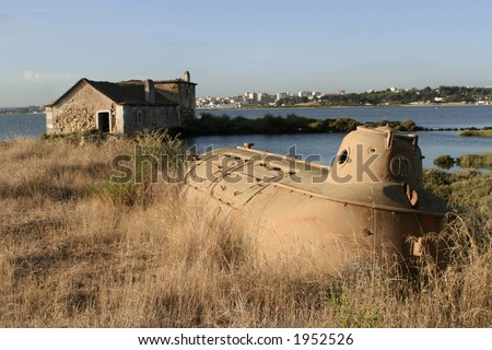 Abandoned submarine - stock photo