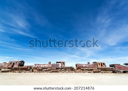 Abandoned train engines in the Train Cemetery at Uyuni, Bolivia - stock photo