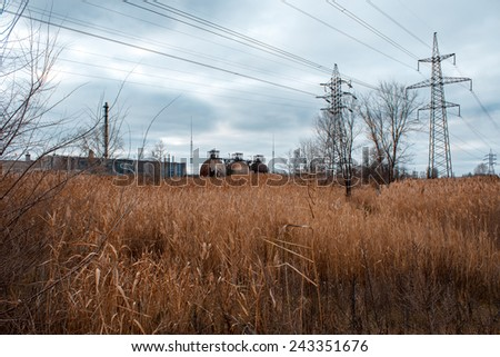 Abandoned Ukrainian Industrial Area - stock photo