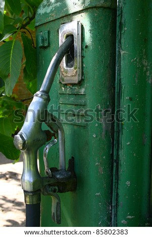 abandoned vintage petrol pump - stock photo