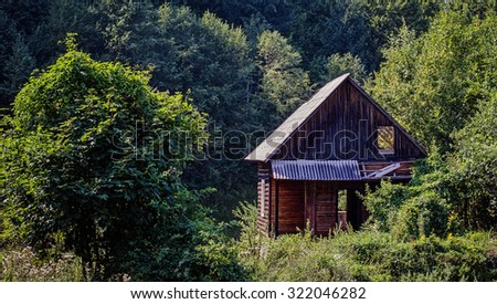 Abandoned wooden cabin in the forest.