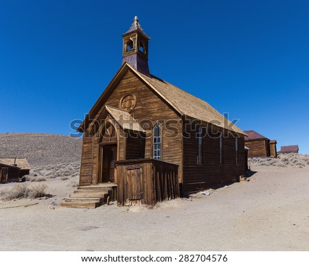 Abandoned wooden rustic church building in Bodie ghost town, California - stock photo