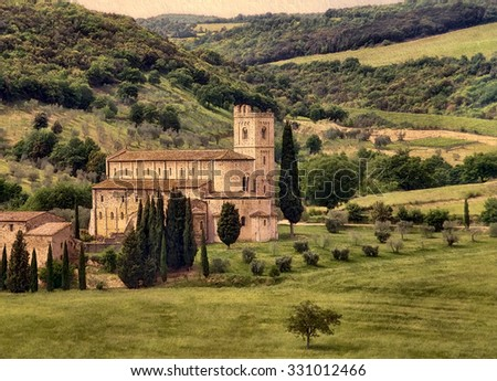 Abbey of Saint Antimo in the commune of Montalcino, Tuscany, Italy - stock photo