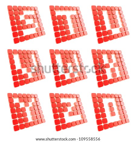 Abc alphabet letter symbol plates made of red glossy plastic cubes isolated on white - stock photo