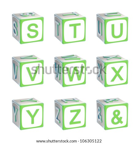 ABC: alphabet made of children playing cubes green bright and glossy isolated on white, letters s, t, u, v, w, x, y, z - stock photo