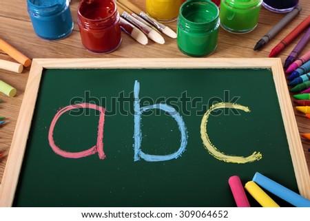 ABC alphabet, preschool reading, writing - stock photo