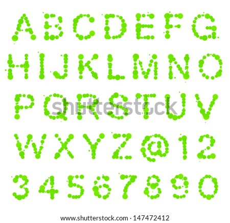ABC alphabet set made of green ink blot spots isolated over white background