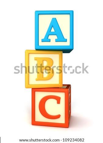 ABC building blocks on white background - stock photo