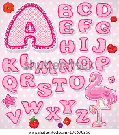 ABC - Childish alphabet - letters are made of pink lace and ribbons  - version for baby girl. Raster version
