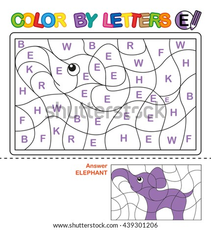 ABC Coloring Book for kids. Color by letter. Learn to write capital letters of the English alphabet. Puzzle for children. Elephant. E - stock photo