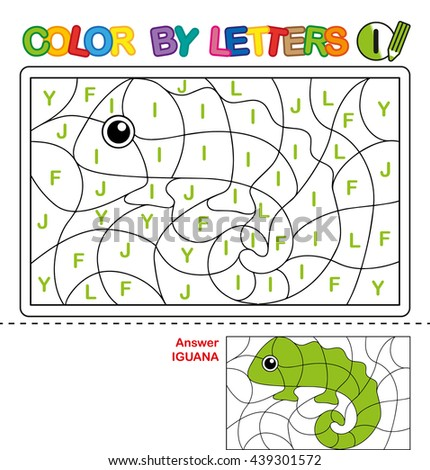 ABC Coloring Book for kids. Color by letter. Learn to write capital letters of the English alphabet. Puzzle for children. Iguana. I - stock photo