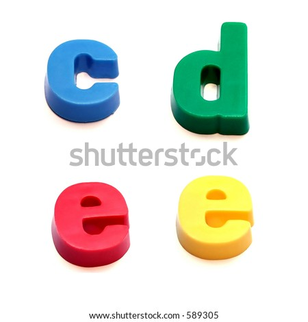 ABC fridge magnets - c, d and e Mix and Match to make your own words - stock photo