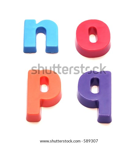 ABC fridge magnets - letters n, o, p and q Mix and Match to make your own words - stock photo