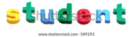 ABC fridge magnets spell student - stock photo