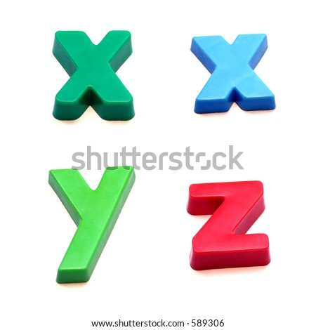 ABC fridge magnets - x, y and z Mix and Match to make your own words - stock photo