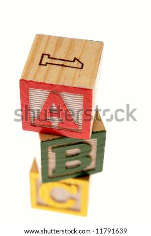 ABC learning blocks isolated over white - stock photo