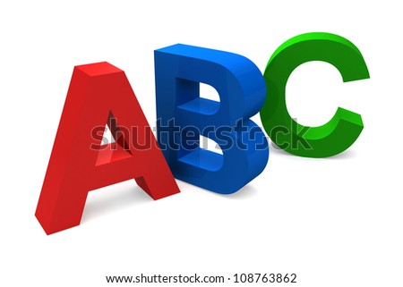 ABC Letters - Three dimensional image isolated on white - stock photo