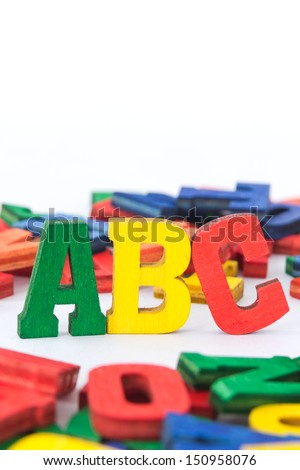 ABC made from wooden letters