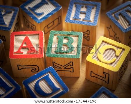 ABC's in blocks - stock photo