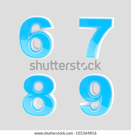 Abc set of four blue glossy plastic letter signs isolated on grey - stock photo