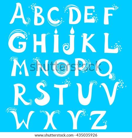 ABC. Water alphabet. Isolated on blue background.  illustration - stock photo