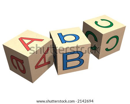 ABC wooden alphabet blocks. High quality 3D rendering. - stock photo