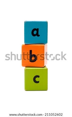 ABC Wooden alphabet blocks isolated on white - stock photo