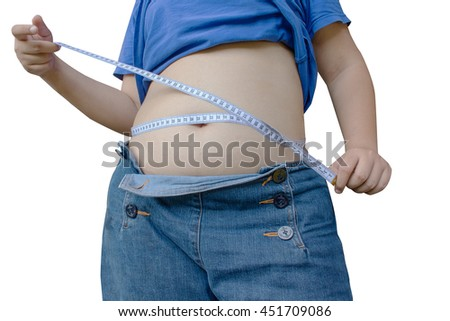 abdominal surface of fat woman on white background;Large girl with measuring tape isolated in white