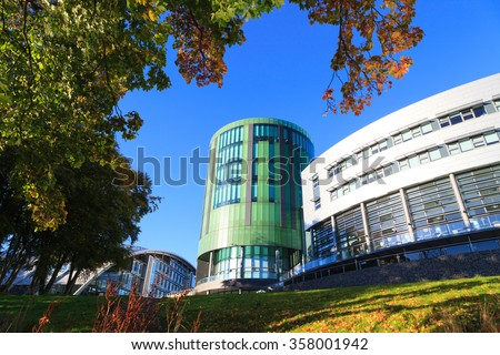 ABERDEEN SCOTLAND - 21 DECEMBER 2015 The Robert Gordon University (RGU) in Aberdeen time lapse footage. RGU is one of  the UK's top Universities in oil and gas industry.