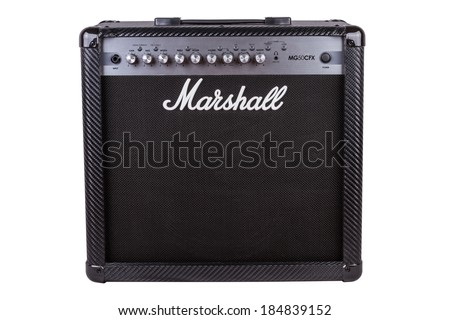 ABERFELDY, SCOTLAND - MARCH 20, 2014: Marshall amplifier MG50CFX. Marshall  was founded by drum shop owner and drummer Jim Marshall, and is now based in Bletchley, Milton Keynes.  - stock photo