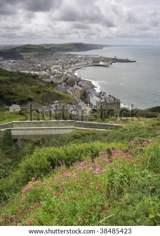 Aberystwyth in wales on a stormy day as seen from Constitution Hill
