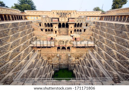 ABHANERI -Â?Â? DECEMBER 27: Chand Baori on December 27, 2013 in Abhaneri,India.Chand Baori is a step well which is 20 meters deep and is believed to have been built in around tenth century.  - stock photo