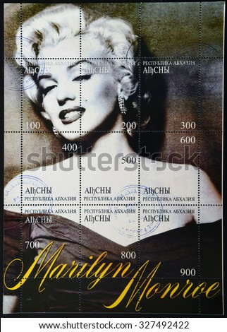 ABKHAZIA - CIRCA 1999: A stamp printed in Abkhazia (Georgia) shows Marilyn Monroe, circa 1999 - stock photo