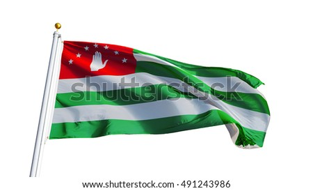 Abkhazia flag waving on white background, close up, isolated with clipping path mask alpha channel transparency