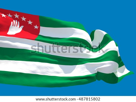 Abkhazia wave flag Republic of Abkhazia 3D rendering