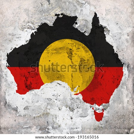 Aboriginal Australia  flag map and wall background  - stock photo