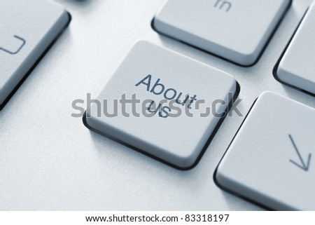 About us button on the keyboard. Toned Image. - stock photo