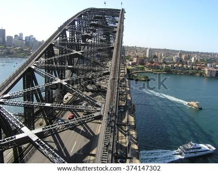 Above bridge in Sydney - stock photo