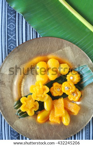 Above of golden Thai traditional dessert set