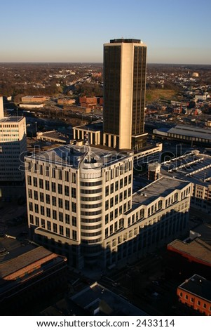 Above Richmond - View of the James Monroe Building at Sunset
