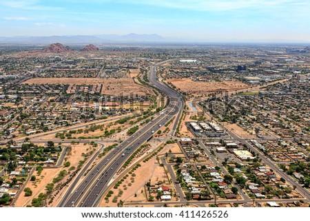 Above the Loop 202 Red Mountain Freeway in Phoenix, Arizona looking east - stock photo