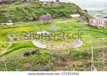 above view of ancient greek theater in Morgantina area, Sicily, Italy - stock photo
