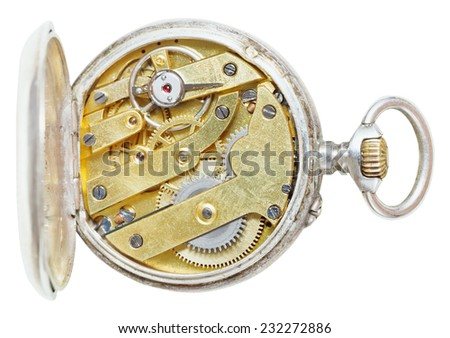 above view of brass movement of retro silver pocket watch isolated on white background - stock photo