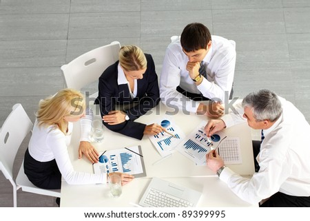 Above view of business team discussing future strategy