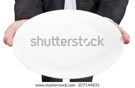above view of businessman holds empty white plate close up isolated on white background - stock photo