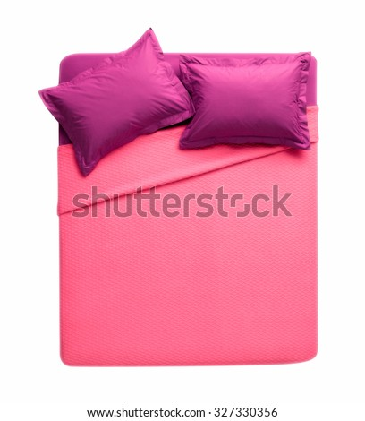 above view of isolated double bed on white background with pink and burgundy sheets  - stock photo